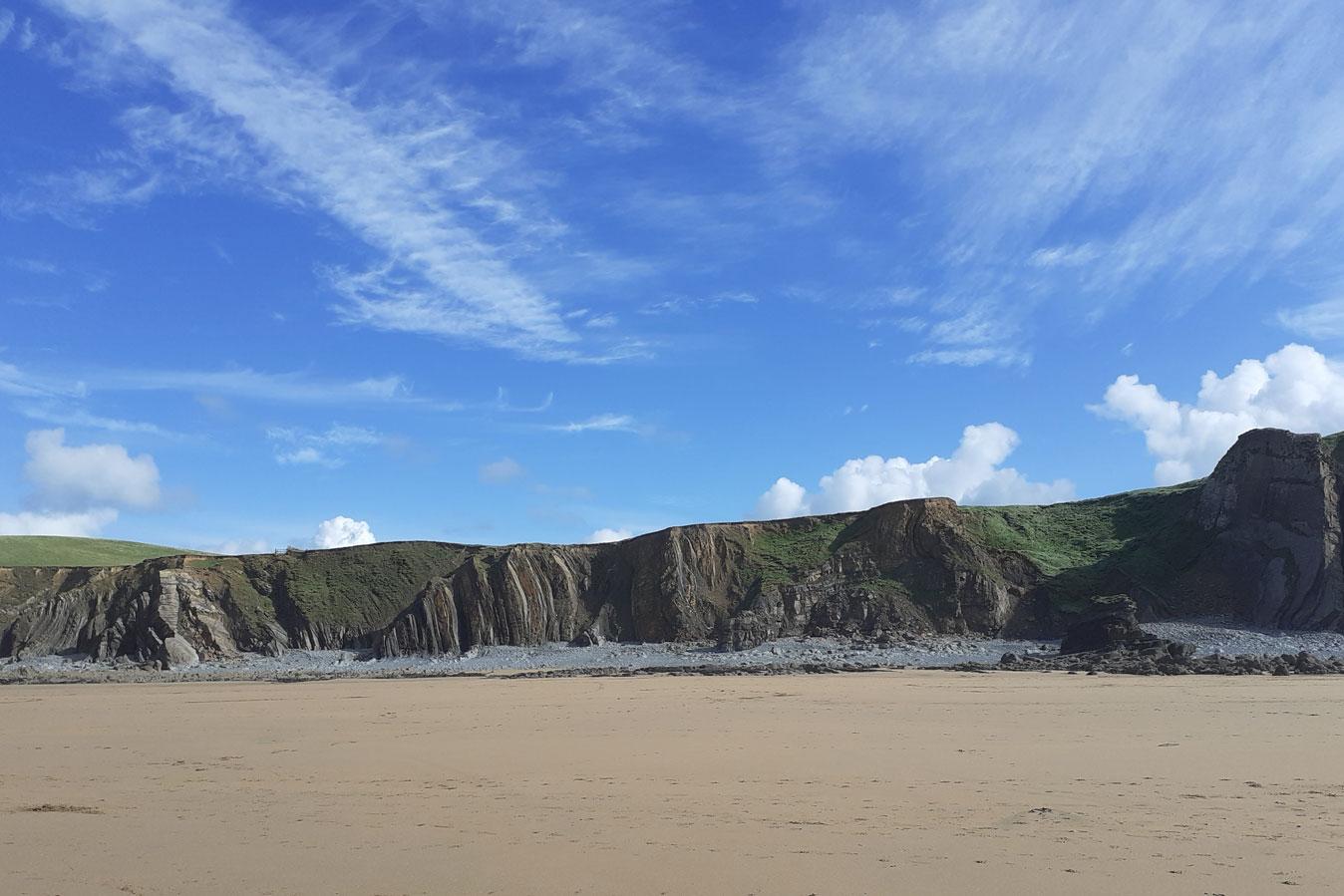 Sandymouth beach with blue sky